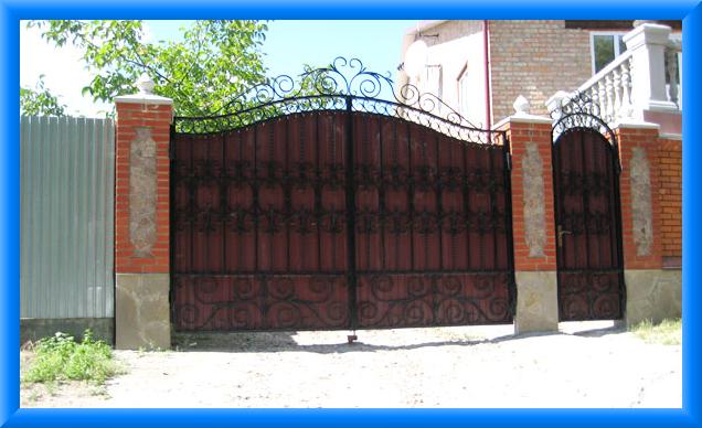 Ворота из профнастила фото