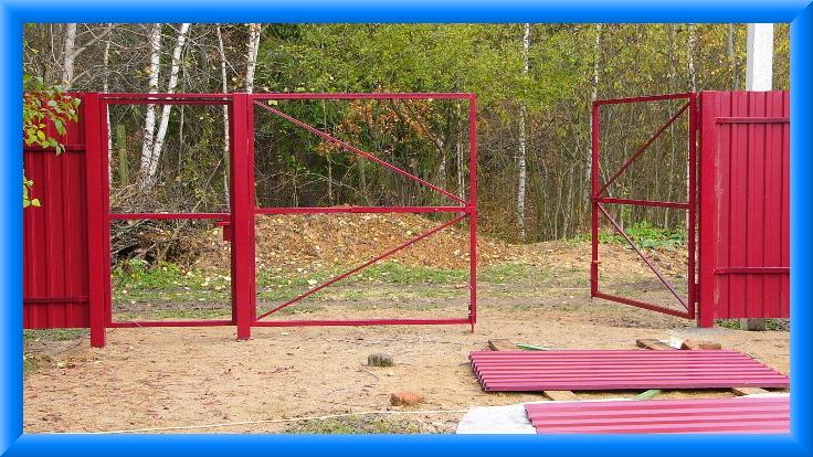 Как сделать распашные ворота на даче